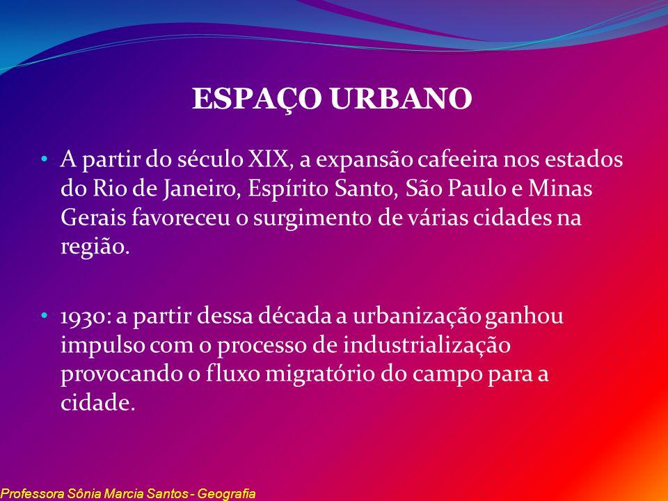 ESPAÇO URBANO A partir do século XIX, a expansão cafeeira nos estados do Rio de Janeiro, Espírito Santo, São Paulo e Minas Gerais favoreceu o surgimen