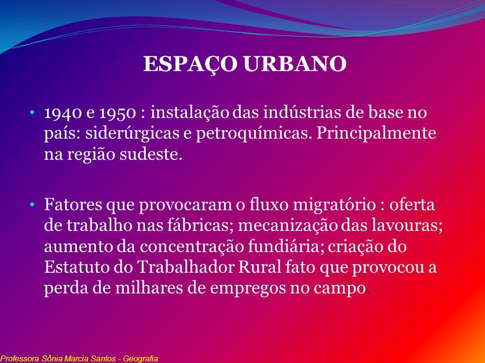 ESPAÇO URBANO 1940 e 1950 : instalação das indústrias de base no país: siderúrgicas e petroquímicas. Principalmente na região sudeste. Fatores que pro