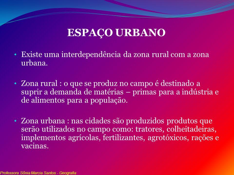 ESPAÇO URBANO Existe uma interdependência da zona rural com a zona urbana. Zona rural : o que se produz no campo é destinado a suprir a demanda de mat