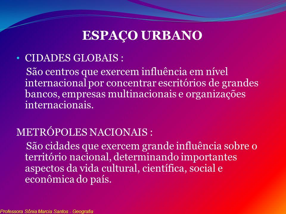 ESPAÇO URBANO CIDADES GLOBAIS : São centros que exercem influência em nível internacional por concentrar escritórios de grandes bancos, empresas multi