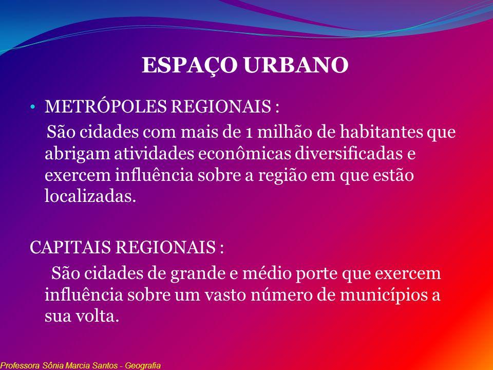 ESPAÇO URBANO METRÓPOLES REGIONAIS : São cidades com mais de 1 milhão de habitantes que abrigam atividades econômicas diversificadas e exercem influên