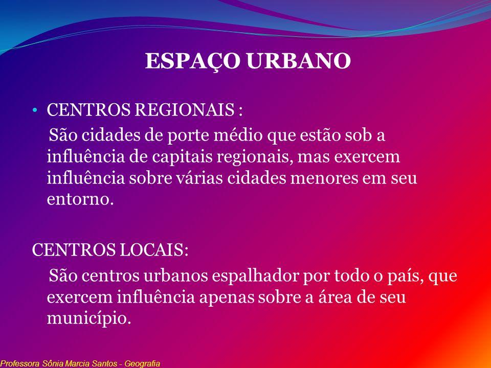 ESPAÇO URBANO CENTROS REGIONAIS : São cidades de porte médio que estão sob a influência de capitais regionais, mas exercem influência sobre várias cid
