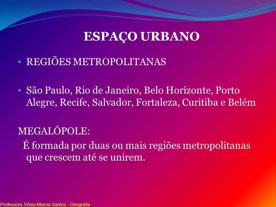 ESPAÇO URBANO REGIÕES METROPOLITANAS São Paulo, Rio de Janeiro, Belo Horizonte, Porto Alegre, Recife, Salvador, Fortaleza, Curitiba e Belém MEGALÓPOLE