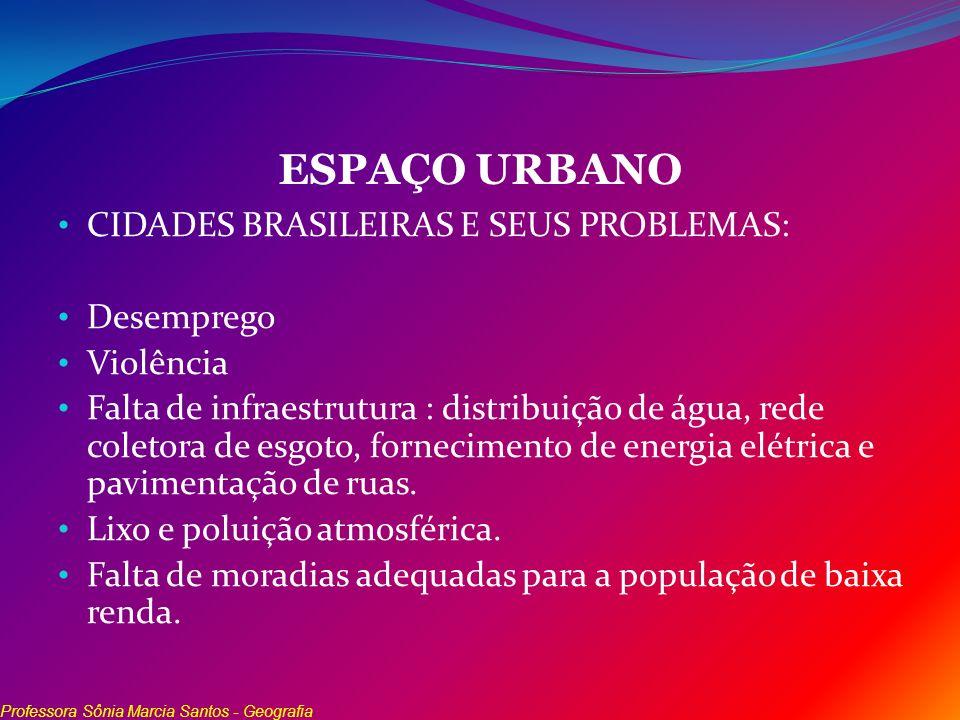 ESPAÇO URBANO CIDADES BRASILEIRAS E SEUS PROBLEMAS: Desemprego Violência Falta de infraestrutura : distribuição de água, rede coletora de esgoto, forn