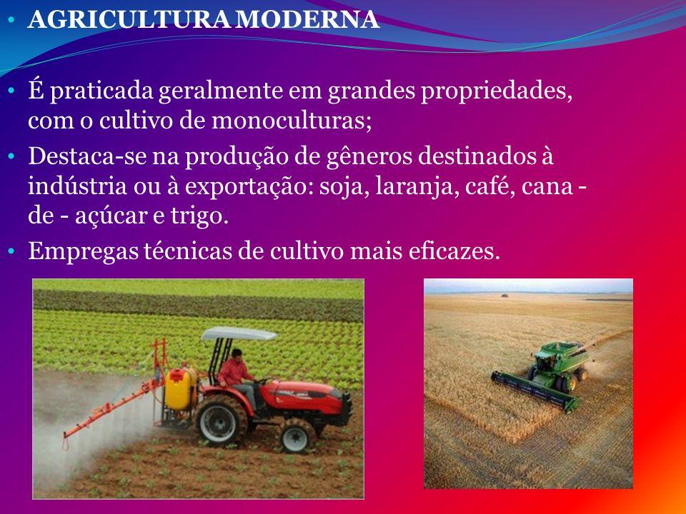 AGRICULTURA MODERNA É praticada geralmente em grandes propriedades, com o cultivo de monoculturas; Destaca-se na produção de gêneros destinados à indú