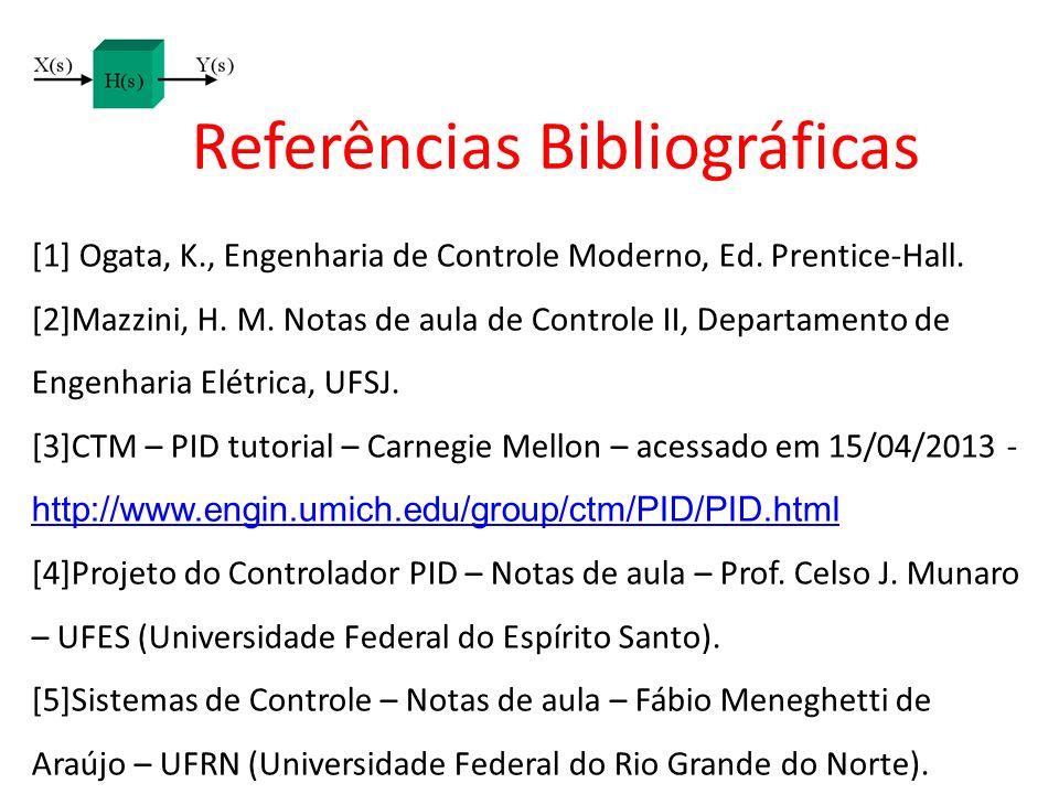 Referências Bibliográficas [1] Ogata, K., Engenharia de Controle Moderno, Ed. Prentice-Hall. [2]Mazzini, H. M. Notas de aula de Controle II, Departame