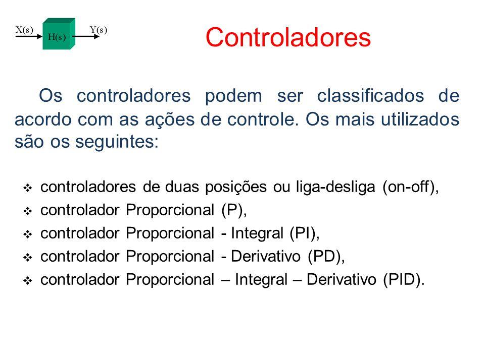 Controladores Os controladores podem ser classificados de acordo com as ações de controle. Os mais utilizados são os seguintes: controladores de duas