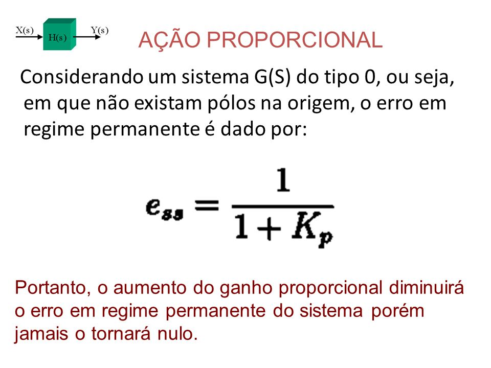 AÇÃO PROPORCIONAL Considerando um sistema G(S) do tipo 0, ou seja, em que não existam pólos na origem, o erro em regime permanente é dado por: Portant