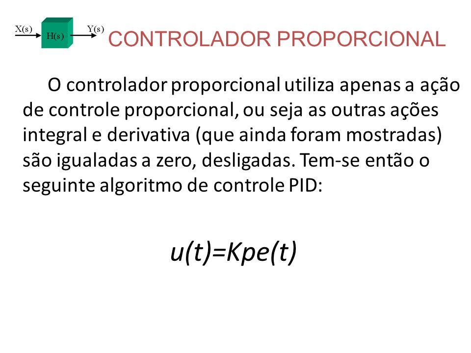 CONTROLADOR PROPORCIONAL O controlador proporcional utiliza apenas a ação de controle proporcional, ou seja as outras ações integral e derivativa (que