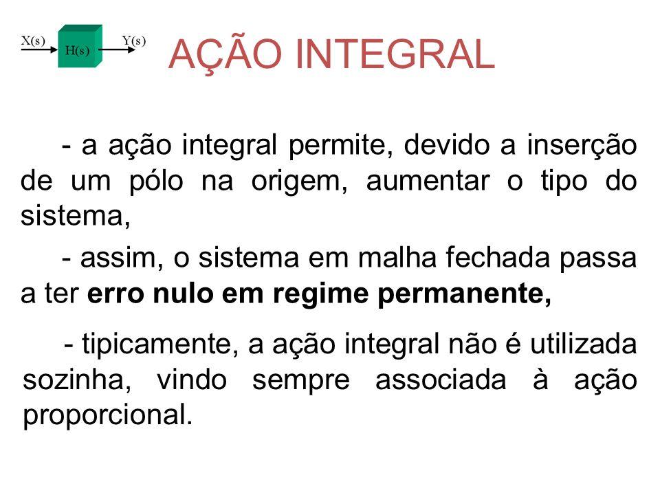 AÇÃO INTEGRAL - a ação integral permite, devido a inserção de um pólo na origem, aumentar o tipo do sistema, - assim, o sistema em malha fechada passa