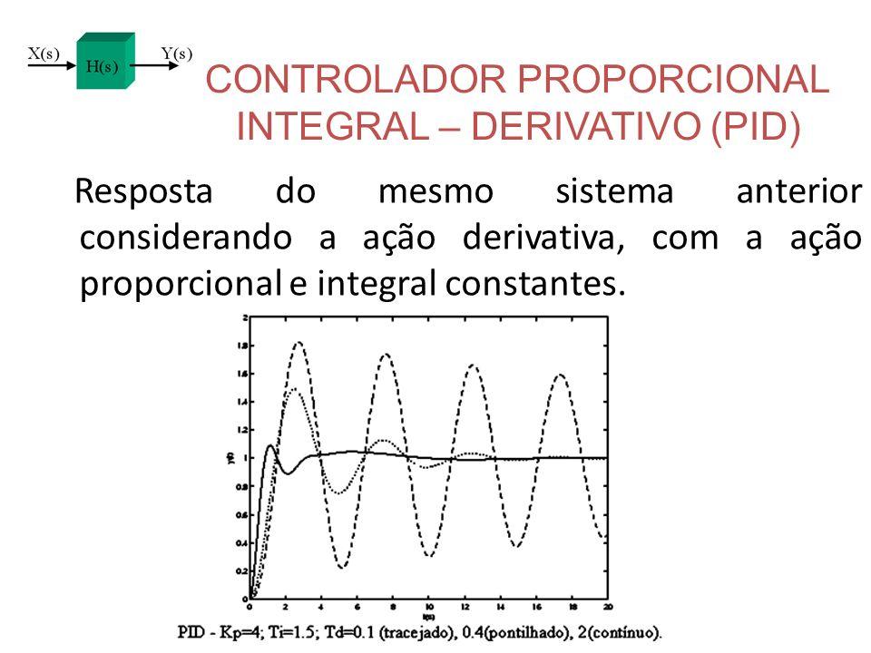 CONTROLADOR PROPORCIONAL INTEGRAL – DERIVATIVO (PID) Resposta do mesmo sistema anterior considerando a ação derivativa, com a ação proporcional e inte