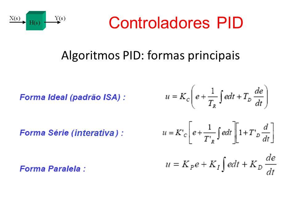 Algoritmos PID: formas principais Controladores PID