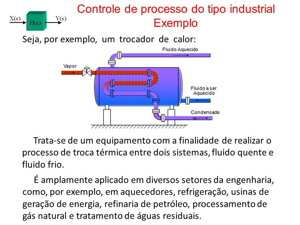 Controle de processo do tipo industrial Exemplo Seja, por exemplo, um trocador de calor: Trata-se de um equipamento com a finalidade de realizar o pro