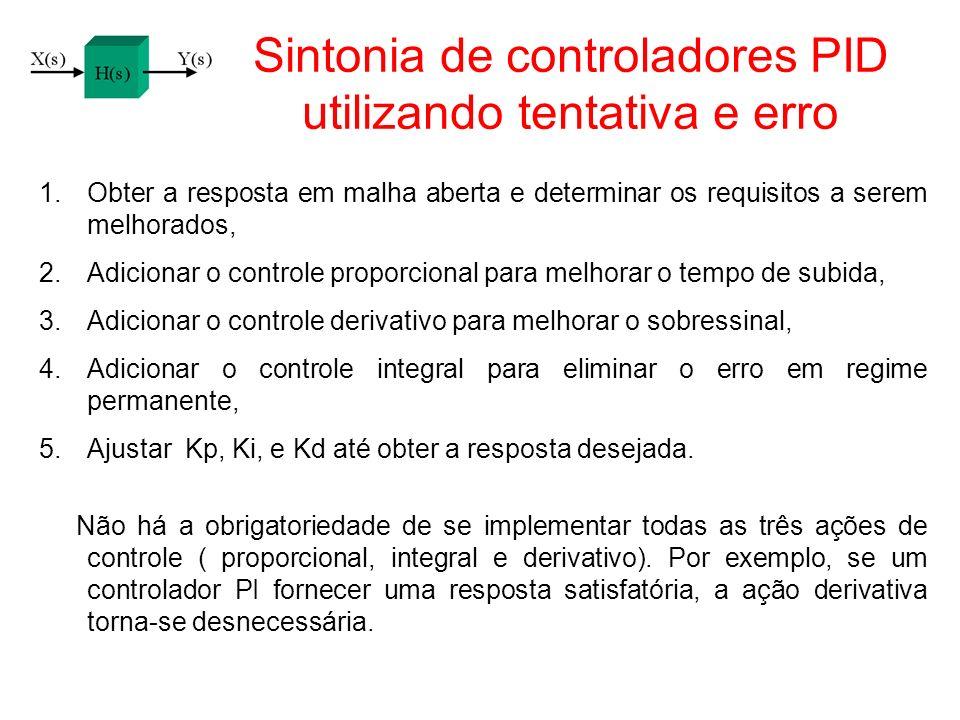 Sintonia de controladores PID utilizando tentativa e erro 1.Obter a resposta em malha aberta e determinar os requisitos a serem melhorados, 2.Adiciona