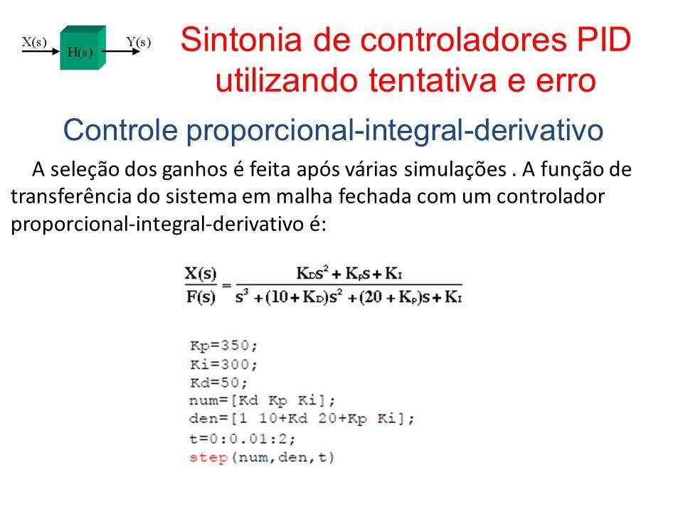 Sintonia de controladores PID utilizando tentativa e erro Controle proporcional-integral-derivativo A seleção dos ganhos é feita após várias simulaçõe