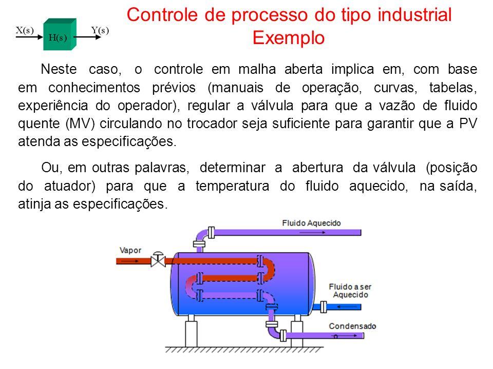 Controle de processo do tipo industrial Exemplo Neste caso, o controle em malha aberta implica em, com base em conhecimentos prévios (manuais de opera