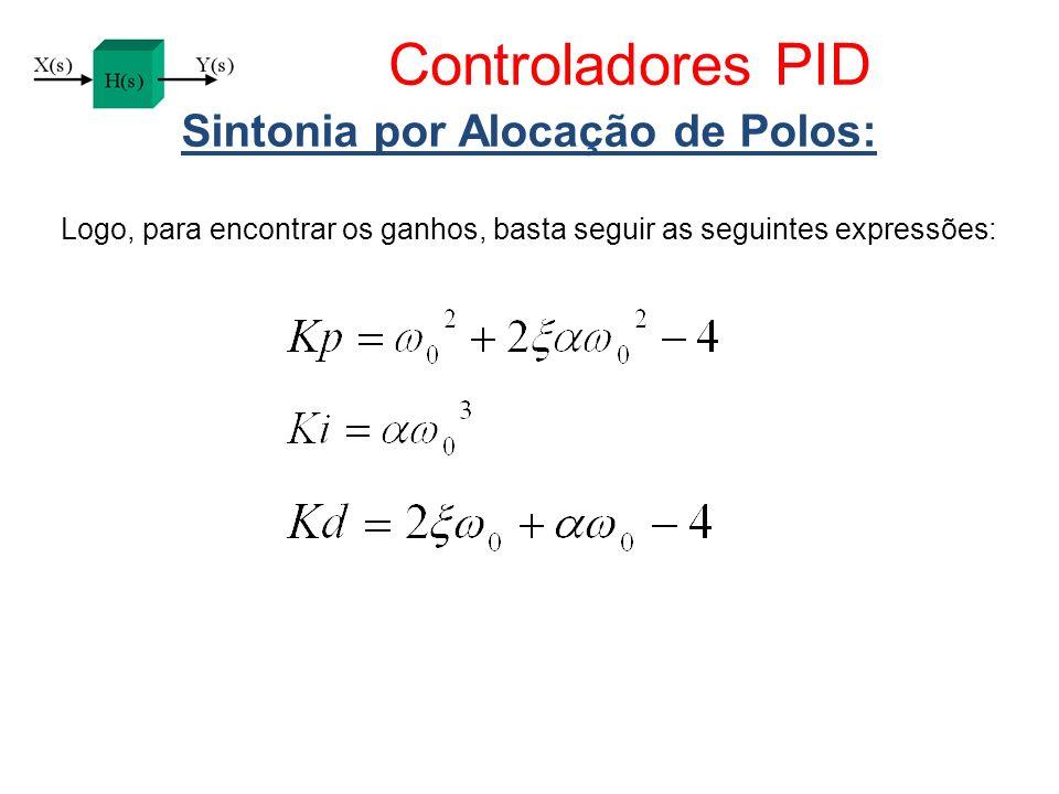 Controladores PID Sintonia por Alocação de Polos: Logo, para encontrar os ganhos, basta seguir as seguintes expressões:
