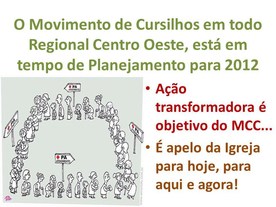O Movimento de Cursilhos em todo Regional Centro Oeste, está em tempo de Planejamento para 2012 Ação transformadora é objetivo do MCC... É apelo da Ig