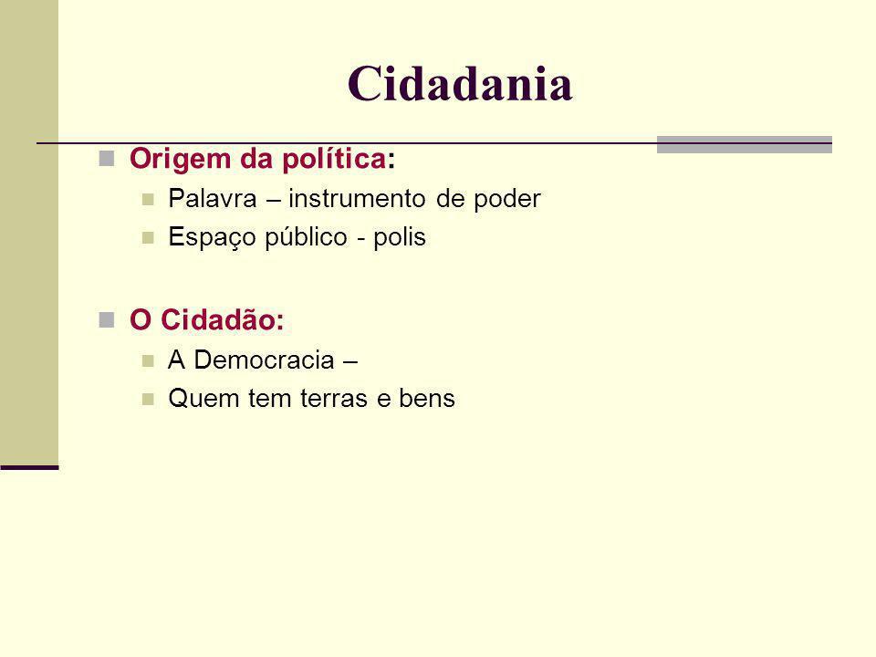 Cidadania Origem da política: Palavra – instrumento de poder Espaço público - polis O Cidadão: A Democracia – Quem tem terras e bens
