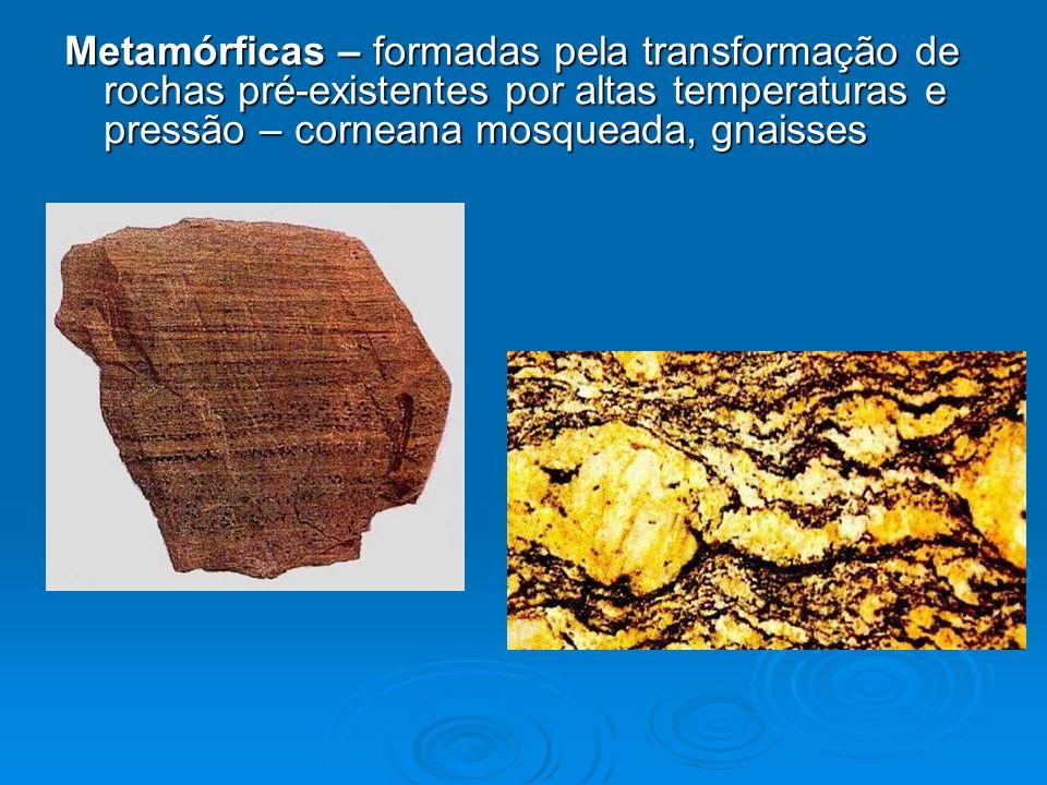 Metamórficas – formadas pela transformação de rochas pré-existentes por altas temperaturas e pressão – corneana mosqueada, gnaisses