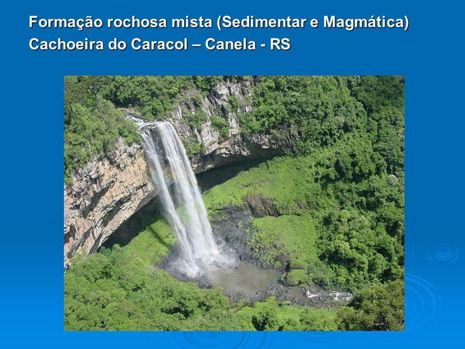 Formação rochosa mista (Sedimentar e Magmática) Cachoeira do Caracol – Canela - RS