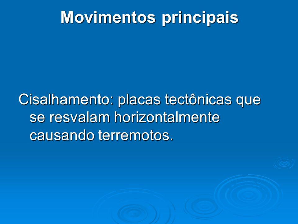 Movimentos principais Cisalhamento: placas tectônicas que se resvalam horizontalmente causando terremotos.