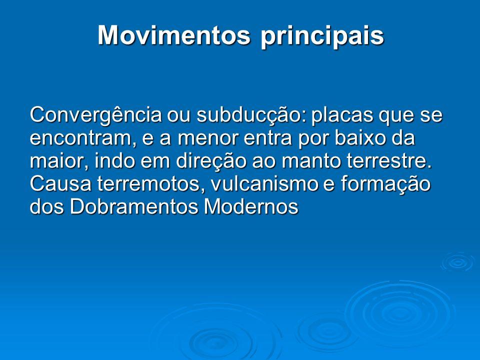 Movimentos principais Convergência ou subducção: placas que se encontram, e a menor entra por baixo da maior, indo em direção ao manto terrestre. Caus