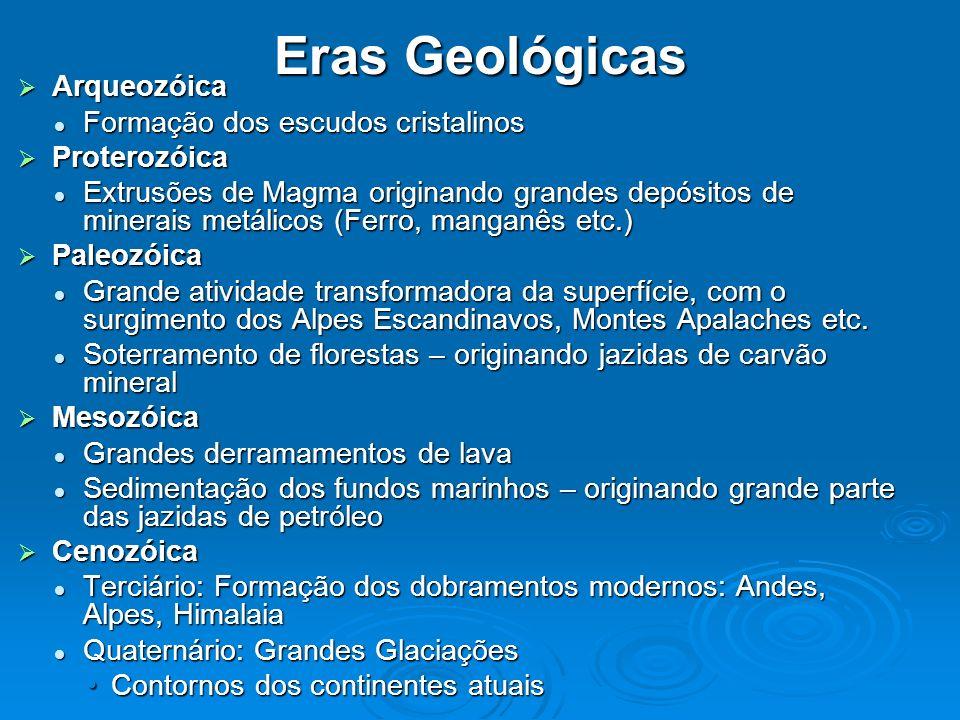 Arqueozóica Arqueozóica Formação dos escudos cristalinos Formação dos escudos cristalinos Proterozóica Proterozóica Extrusões de Magma originando gran