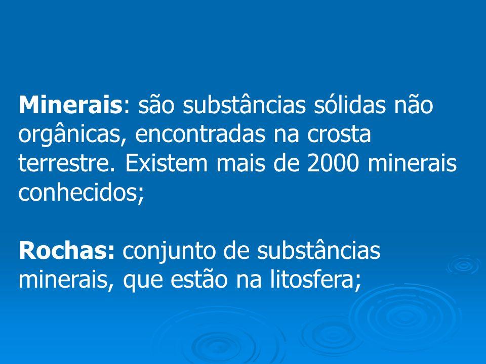 Minerais: são substâncias sólidas não orgânicas, encontradas na crosta terrestre. Existem mais de 2000 minerais conhecidos; Rochas: conjunto de substâ