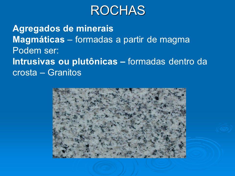 ROCHAS Agregados de minerais Magmáticas – formadas a partir de magma Podem ser: Intrusivas ou plutônicas – formadas dentro da crosta – Granitos