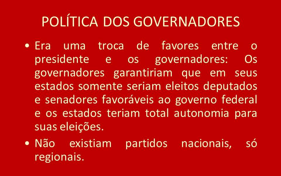 POLÍTICA DOS GOVERNADORES Era uma troca de favores entre o presidente e os governadores: Os governadores garantiriam que em seus estados somente seria