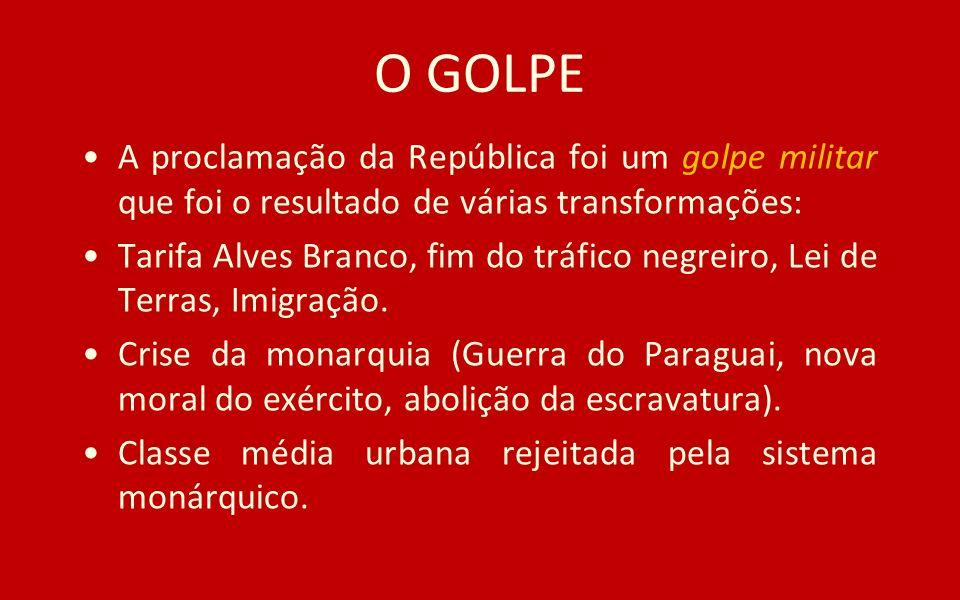 O GOLPE A proclamação da República foi um golpe militar que foi o resultado de várias transformações: Tarifa Alves Branco, fim do tráfico negreiro, Le