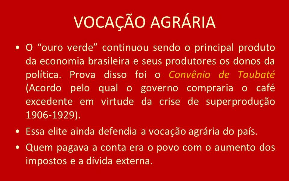 VOCAÇÃO AGRÁRIA O ouro verde continuou sendo o principal produto da economia brasileira e seus produtores os donos da política. Prova disso foi o Conv