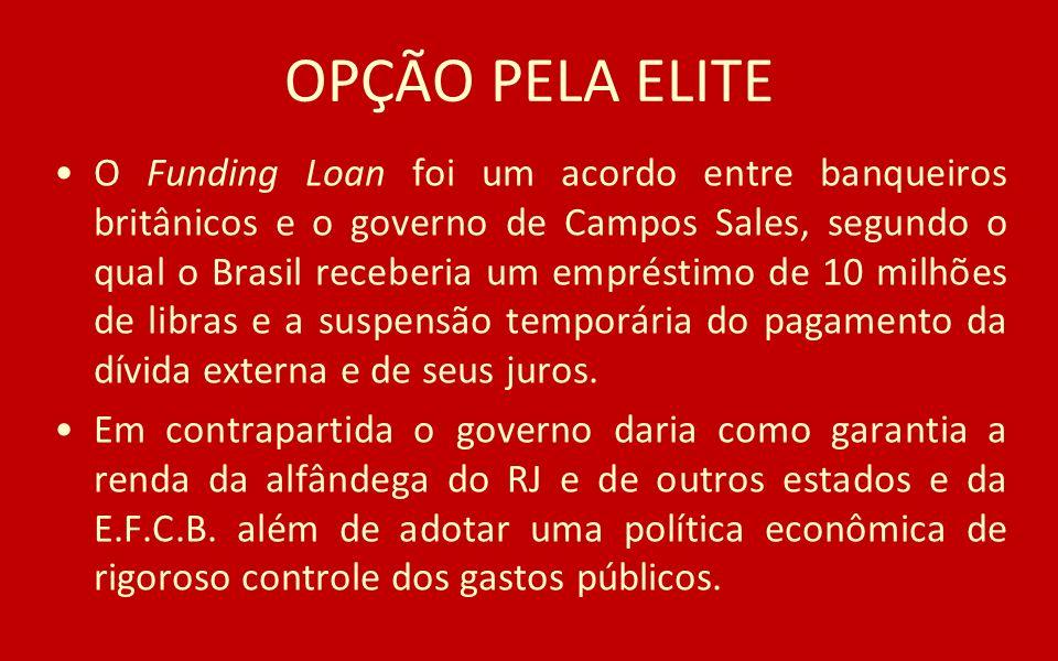 OPÇÃO PELA ELITE O Funding Loan foi um acordo entre banqueiros britânicos e o governo de Campos Sales, segundo o qual o Brasil receberia um empréstimo