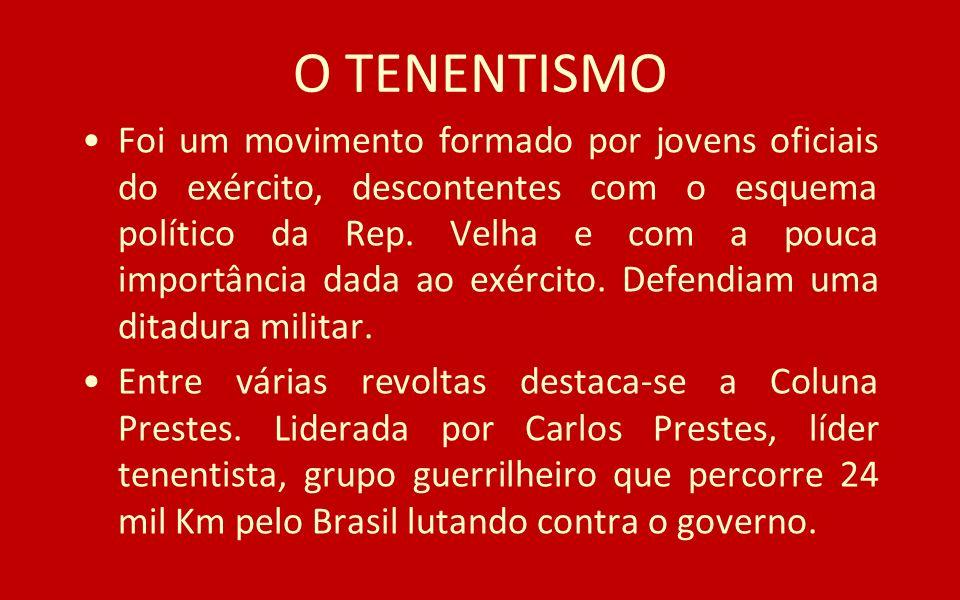 O TENENTISMO Foi um movimento formado por jovens oficiais do exército, descontentes com o esquema político da Rep. Velha e com a pouca importância dad