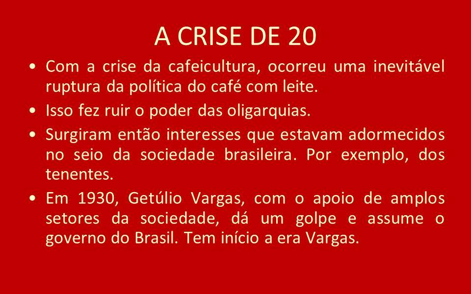 A CRISE DE 20 Com a crise da cafeicultura, ocorreu uma inevitável ruptura da política do café com leite. Isso fez ruir o poder das oligarquias. Surgir