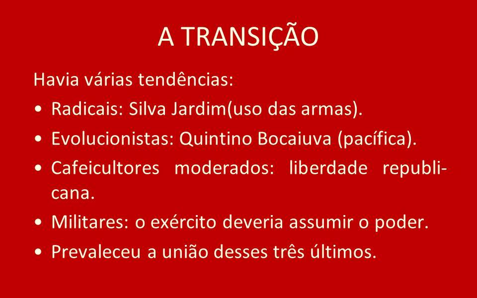 A TRANSIÇÃO Havia várias tendências: Radicais: Silva Jardim(uso das armas). Evolucionistas: Quintino Bocaiuva (pacífica). Cafeicultores moderados: lib