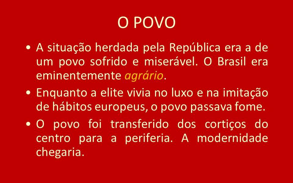 O POVO A situação herdada pela República era a de um povo sofrido e miserável. O Brasil era eminentemente agrário. Enquanto a elite vivia no luxo e na