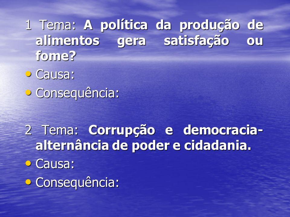 1 Tema: A política da produção de alimentos gera satisfação ou fome? Causa: Causa: Consequência: Consequência: 2 Tema: Corrupção e democracia- alternâ