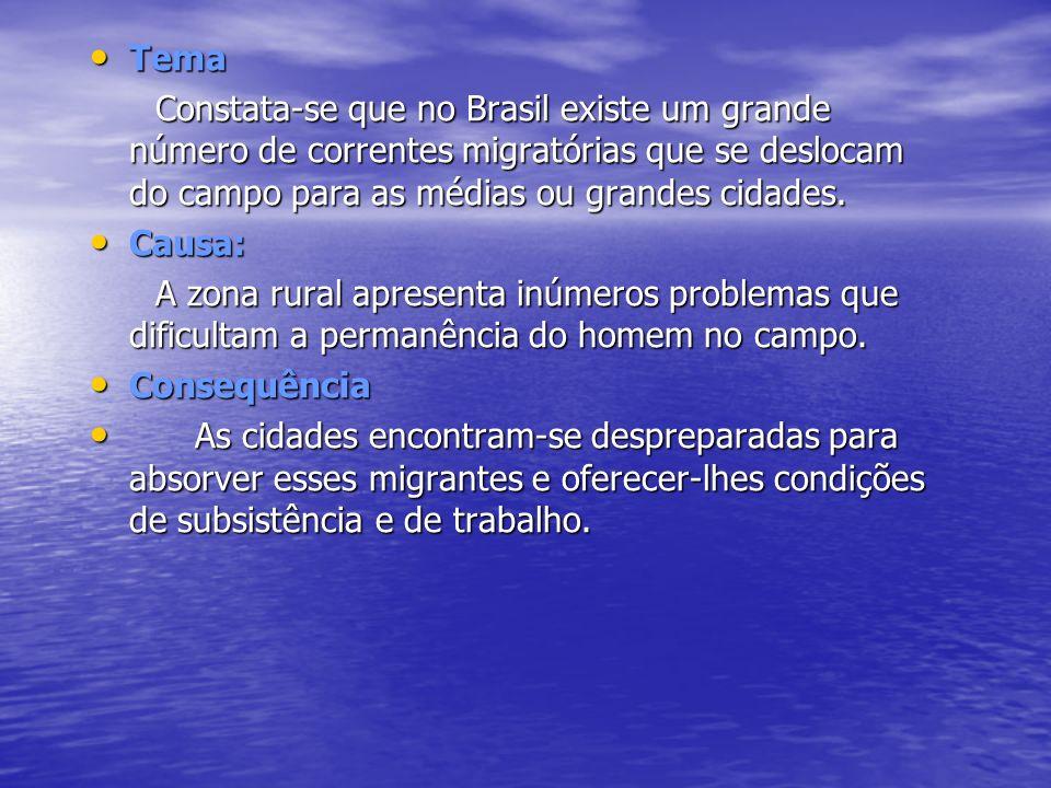 Tema Tema Constata-se que no Brasil existe um grande número de correntes migratórias que se deslocam do campo para as médias ou grandes cidades. Const