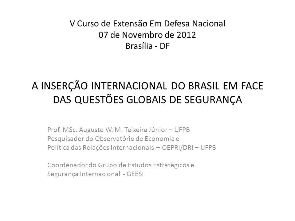 A INSERÇÃO INTERNACIONAL DO BRASIL EM FACE DAS QUESTÕES GLOBAIS DE SEGURANÇA Prof. MSc. Augusto W. M. Teixeira Júnior – UFPB Pesquisador do Observatór