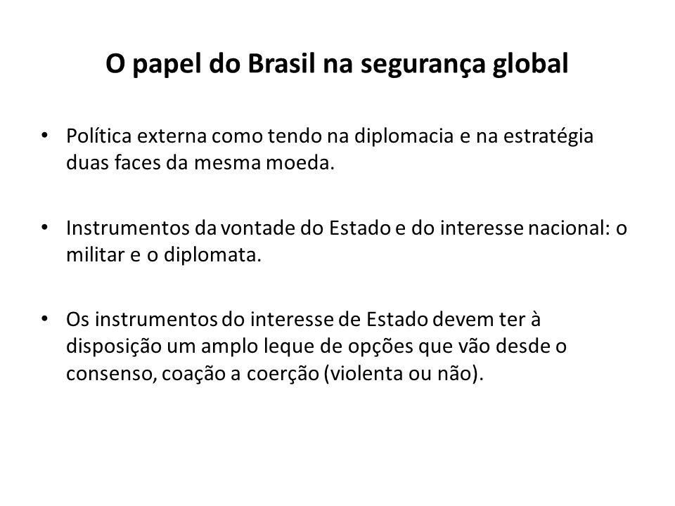 O papel do Brasil na segurança global Política externa como tendo na diplomacia e na estratégia duas faces da mesma moeda. Instrumentos da vontade do