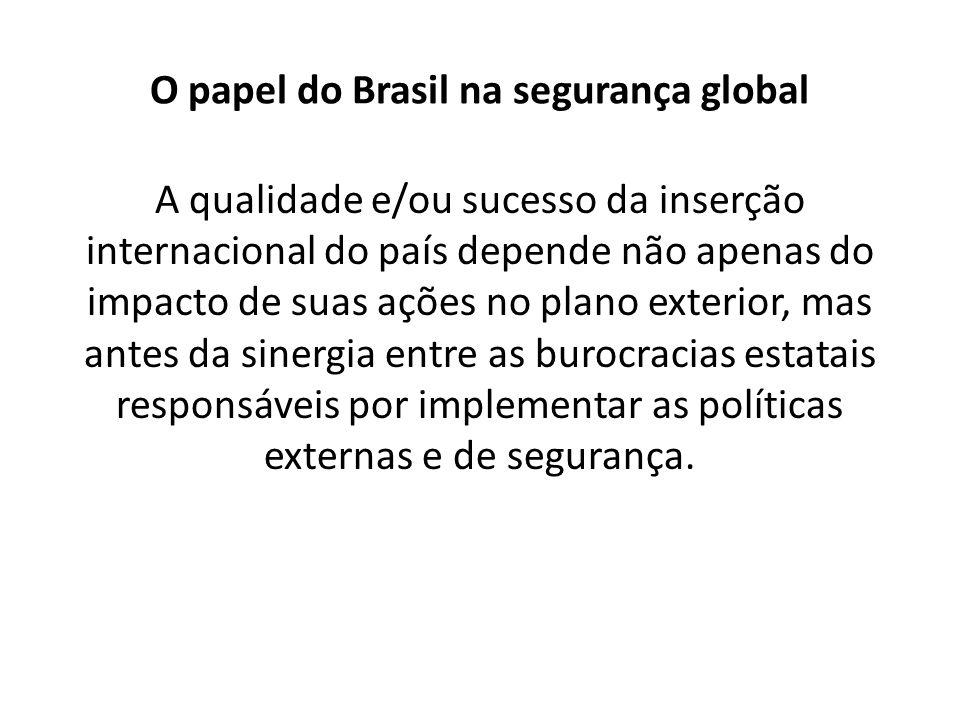 O papel do Brasil na segurança global A qualidade e/ou sucesso da inserção internacional do país depende não apenas do impacto de suas ações no plano