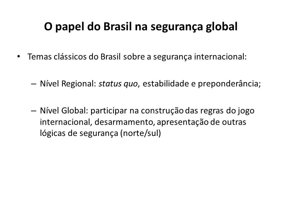 O papel do Brasil na segurança global Temas clássicos do Brasil sobre a segurança internacional: – Nível Regional: status quo, estabilidade e preponde