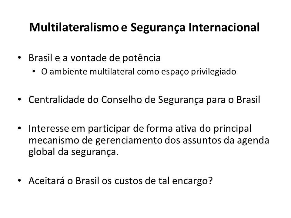 Multilateralismo e Segurança Internacional Brasil e a vontade de potência O ambiente multilateral como espaço privilegiado Centralidade do Conselho de