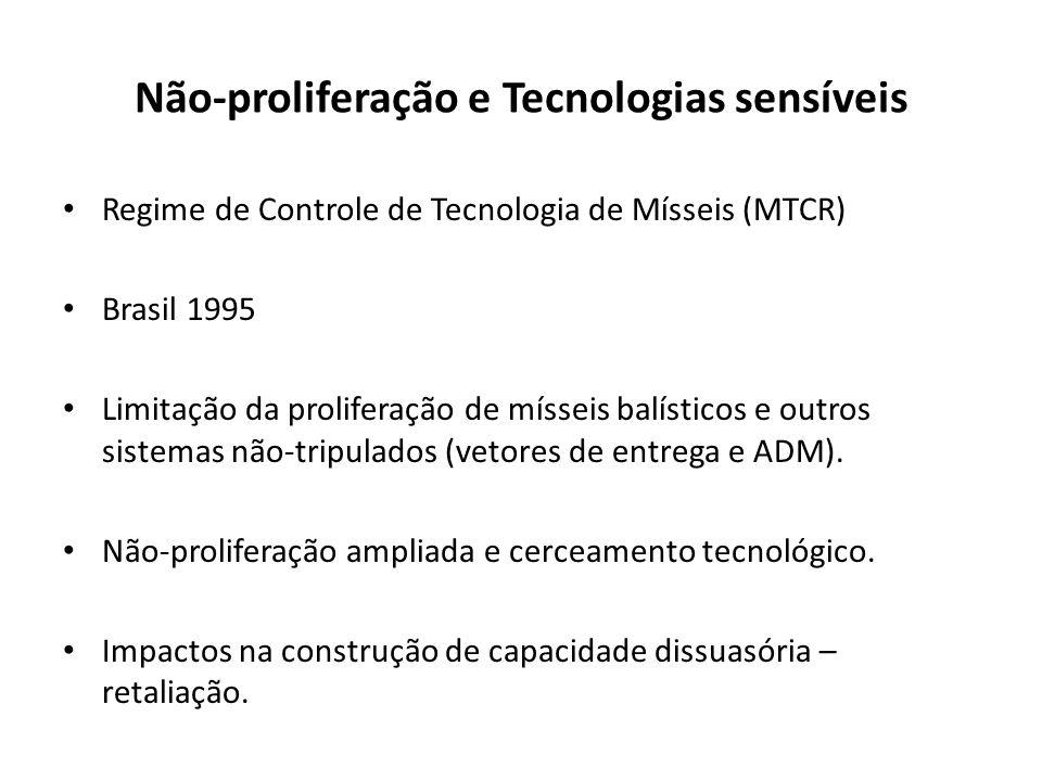 Não-proliferação e Tecnologias sensíveis Regime de Controle de Tecnologia de Mísseis (MTCR) Brasil 1995 Limitação da proliferação de mísseis balístico