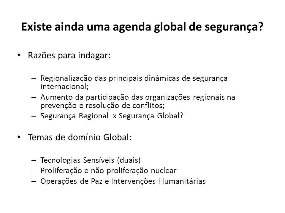 Existe ainda uma agenda global de segurança? Razões para indagar: – Regionalização das principais dinâmicas de segurança internacional; – Aumento da p