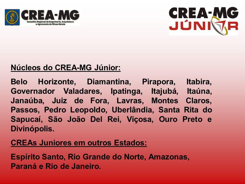 Núcleos do CREA-MG Júnior: Belo Horizonte, Diamantina, Pirapora, Itabira, Governador Valadares, Ipatinga, Itajubá, Itaúna, Janaúba, Juiz de Fora, Lavr