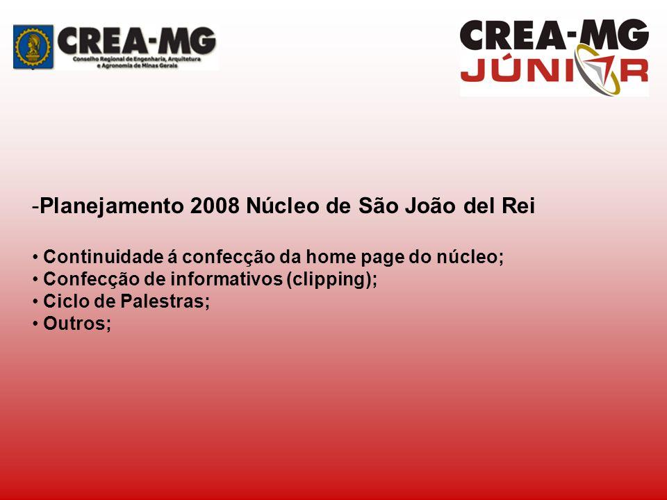 -Planejamento 2008 Núcleo de São João del Rei Continuidade á confecção da home page do núcleo; Confecção de informativos (clipping); Ciclo de Palestra