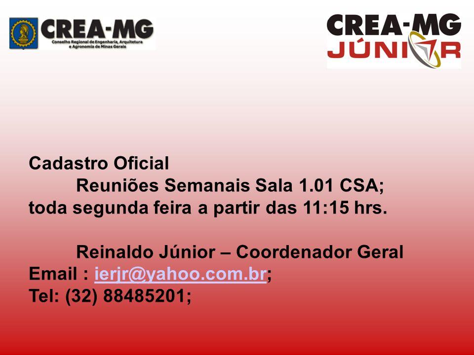 Cadastro Oficial Reuniões Semanais Sala 1.01 CSA; toda segunda feira a partir das 11:15 hrs. Reinaldo Júnior – Coordenador Geral Email : ierjr@yahoo.c